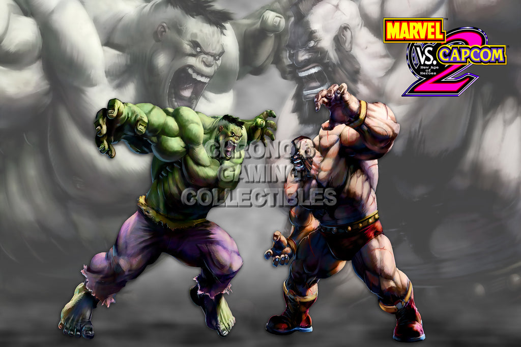 CGC Huge Poster - Marvel vs Capcom 2 New Age of Heroes Hulk vs Zangief PS2  - MVC002