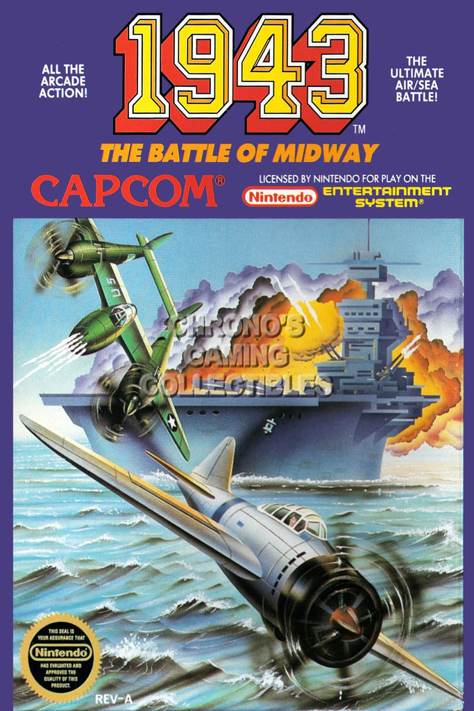 CGC Huge Poster - 1943 Battle of Midway Orignal Nintendo NES Box Art - NES001