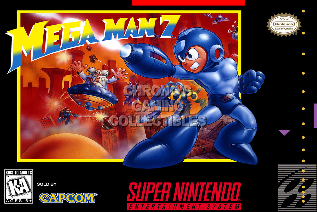 CGC Huge Poster - Mega Man 7 Super Nintendo SNES Box Art - MMA007