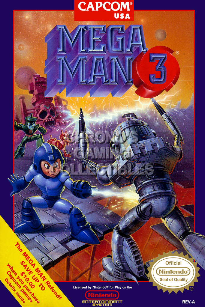 CGC Huge Poster - Mega Man 3 Original Nintendo NES Box Art - MMA003
