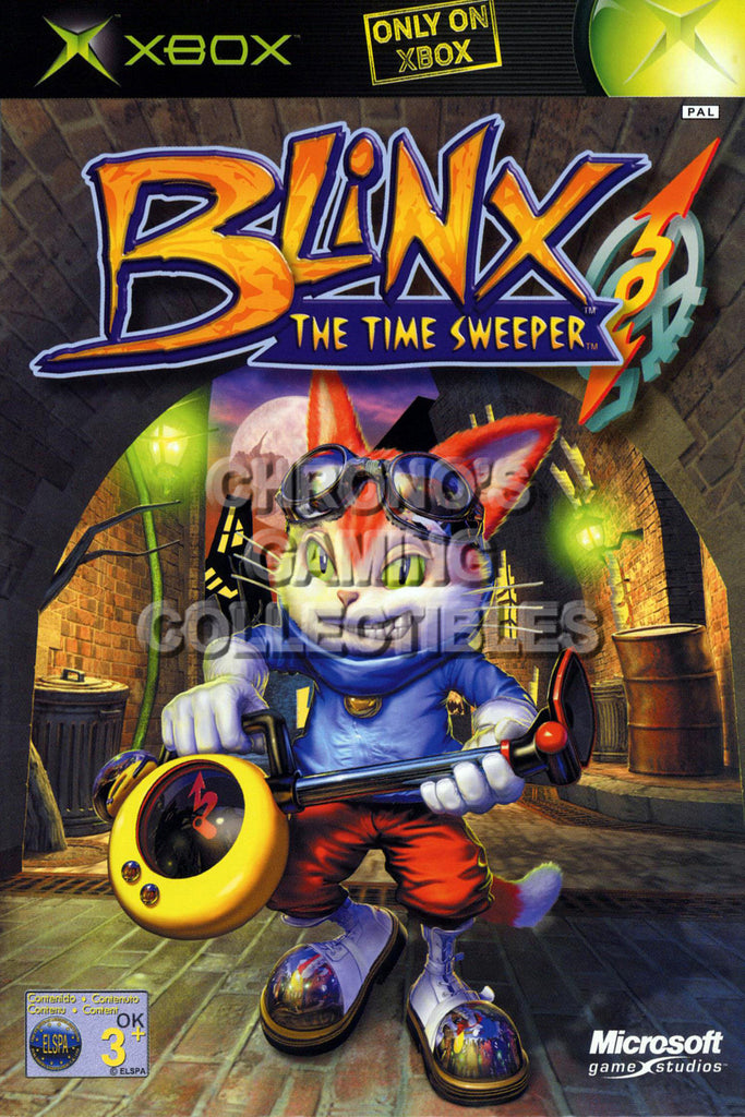 CGC Huge Poster - Blinx The Time Sweeper BOX ART - Original XBOX - XBX006