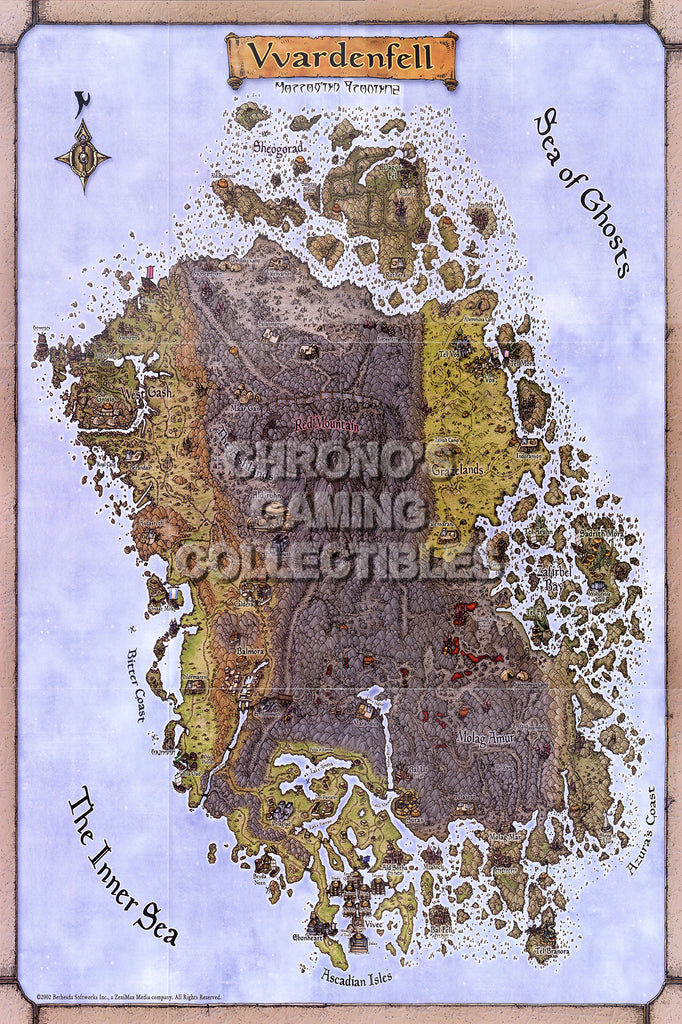 CGC Huge Poster - Elder Scrolls III Morrowing Map XBOX 360 - EDS002