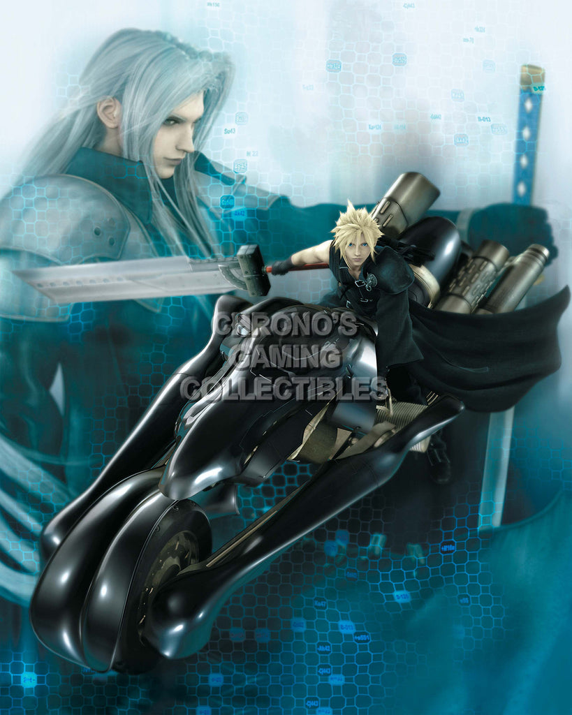 CGC Huge Poster - Final Fantasy VII Advent Childre Cloud on Bike PS1 PSP - FVII033