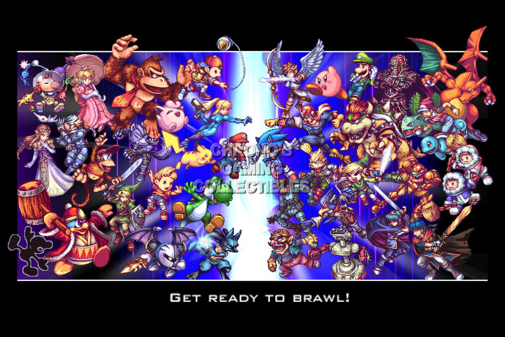 CGC Huge Poster - Super Smash Bros. Wii U 3DS Brawl Retro Art  - SMA028