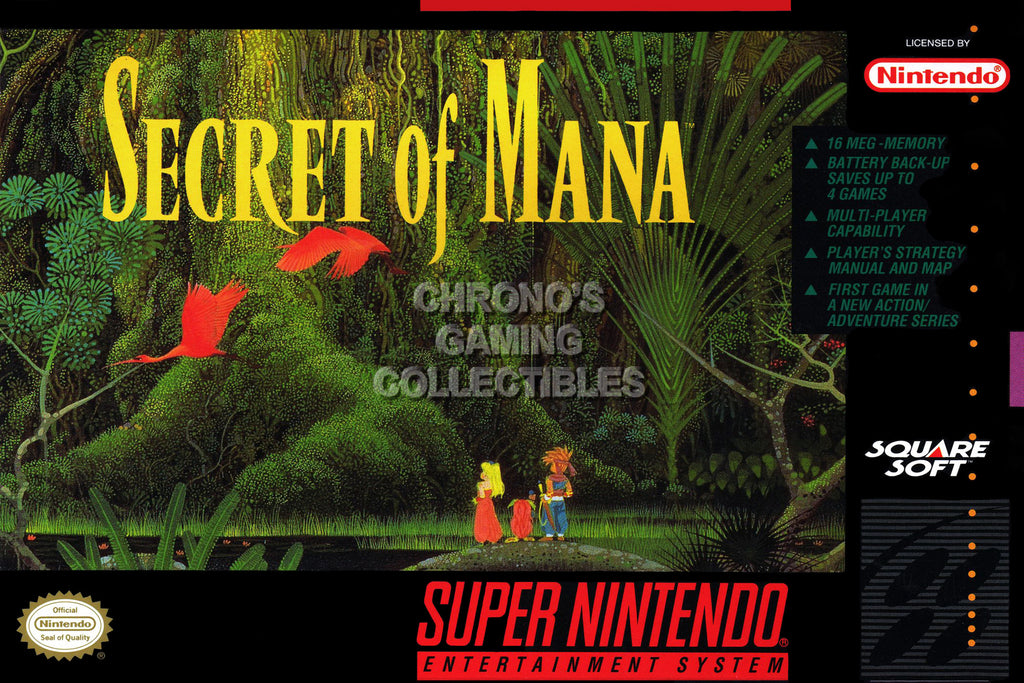 "CGC Huge Poster - Secret of Mana Turbo Super Nintendo SNES Box Art - SOM001 (16"" X 24"")"