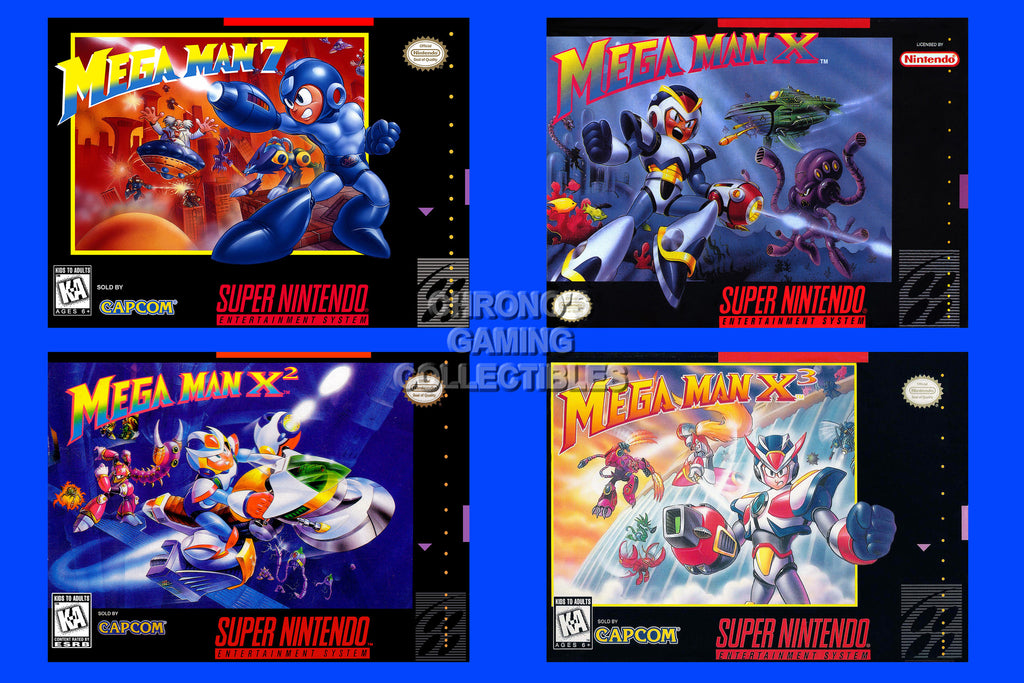 CGC Huge Poster - Mega Man X X2 X3 7 SNES Box Arts - MMA012