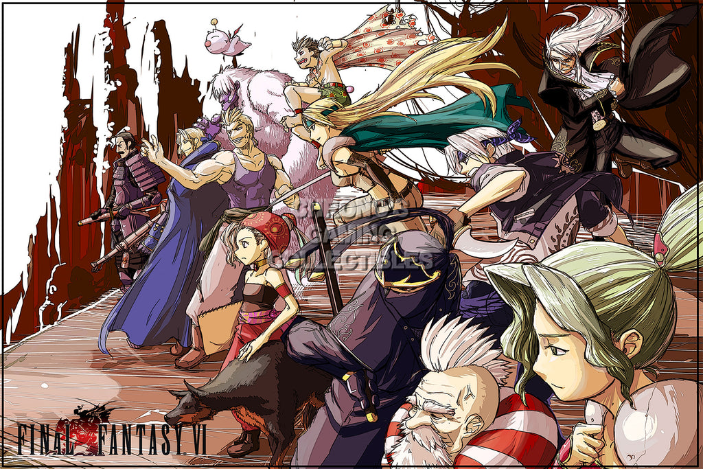 CGC Huge Poster - Final Fantasy VI Art PS1 PS2 PSP Nintendo SNES DS GBA - FVI009