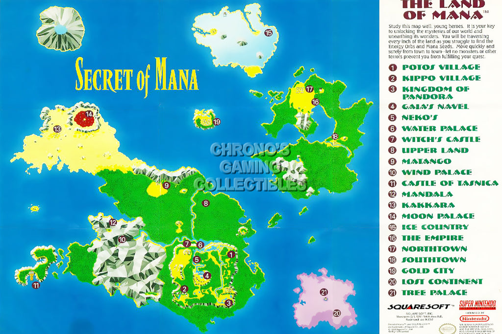 CGC Huge Poster -  Secret of Mana Super Nintendo SNES Map - SOM008