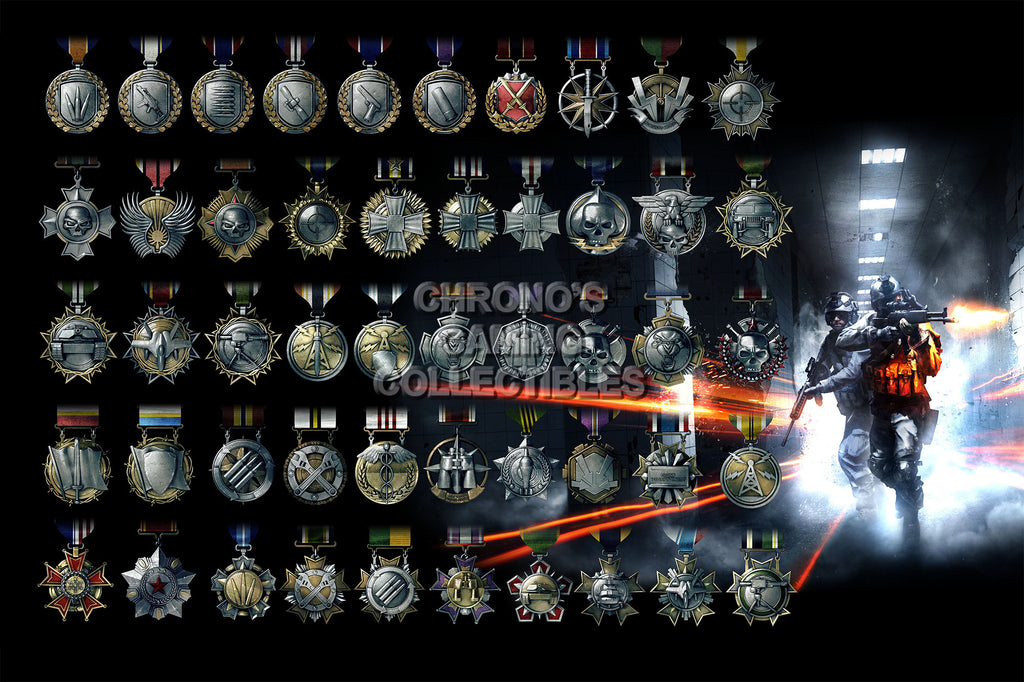CGC Huge Poster - Battlefield 3 Multiplayer Medals - PS3 XBOX 360 PC - BAF008