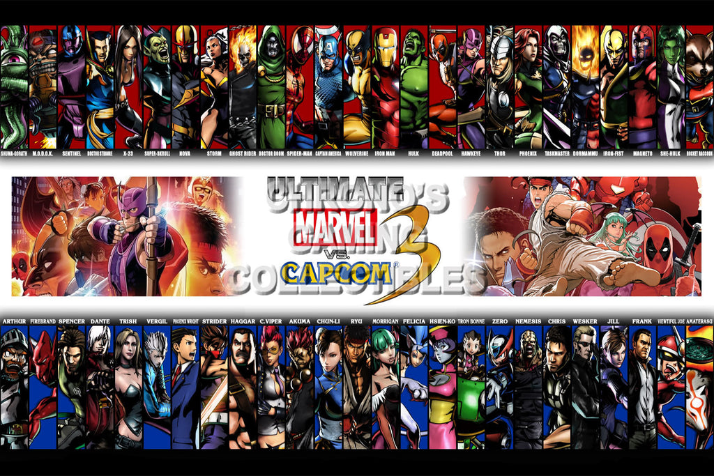 CGC Huge Poster - Marvel vs Capcom 3 Ultimate All Characters PS3 XBOX 360 - MVC029