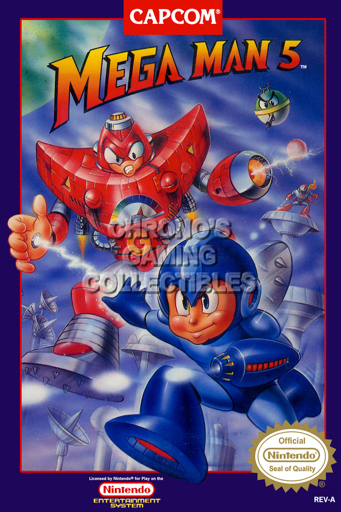 CGC Huge Poster - Mega Man 5 Original Nintendo NES Box Art - MMA005