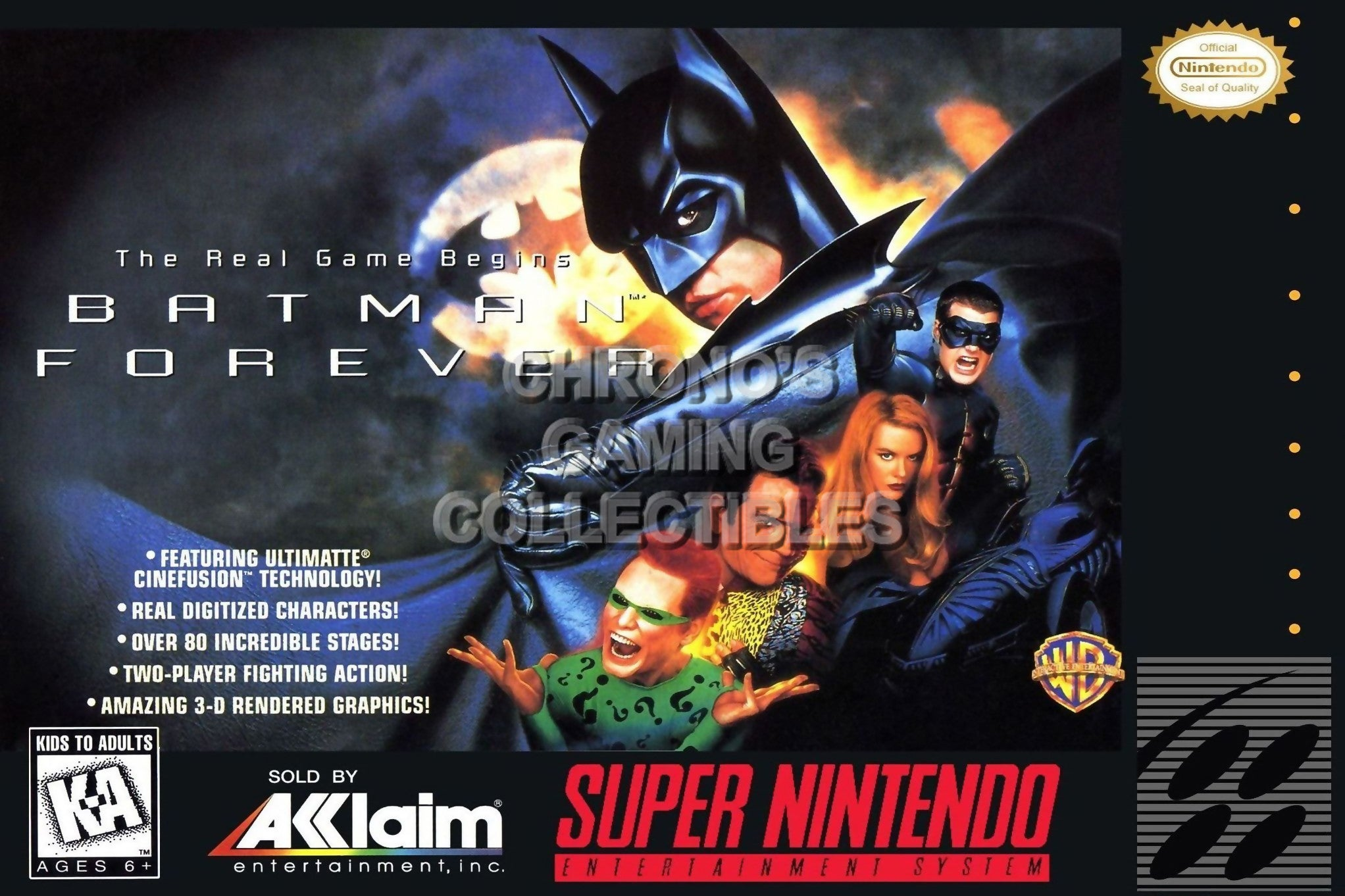CGC Huge Poster - Batman Forever BOX ART Nintendo Super NES SNES - SNE49  Classic SNES