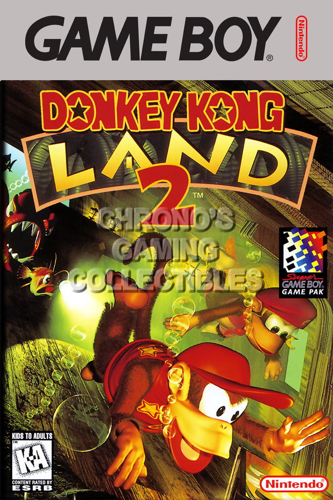 CGC Huge Poster - Donkey Kong Land 2 Original Nintendo Gameboy Box Art - GBO011