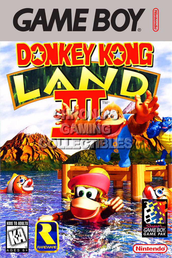 CGC Huge Poster - Donkey Kong Land III Original Nintendo Gameboy Box Art - GBO012
