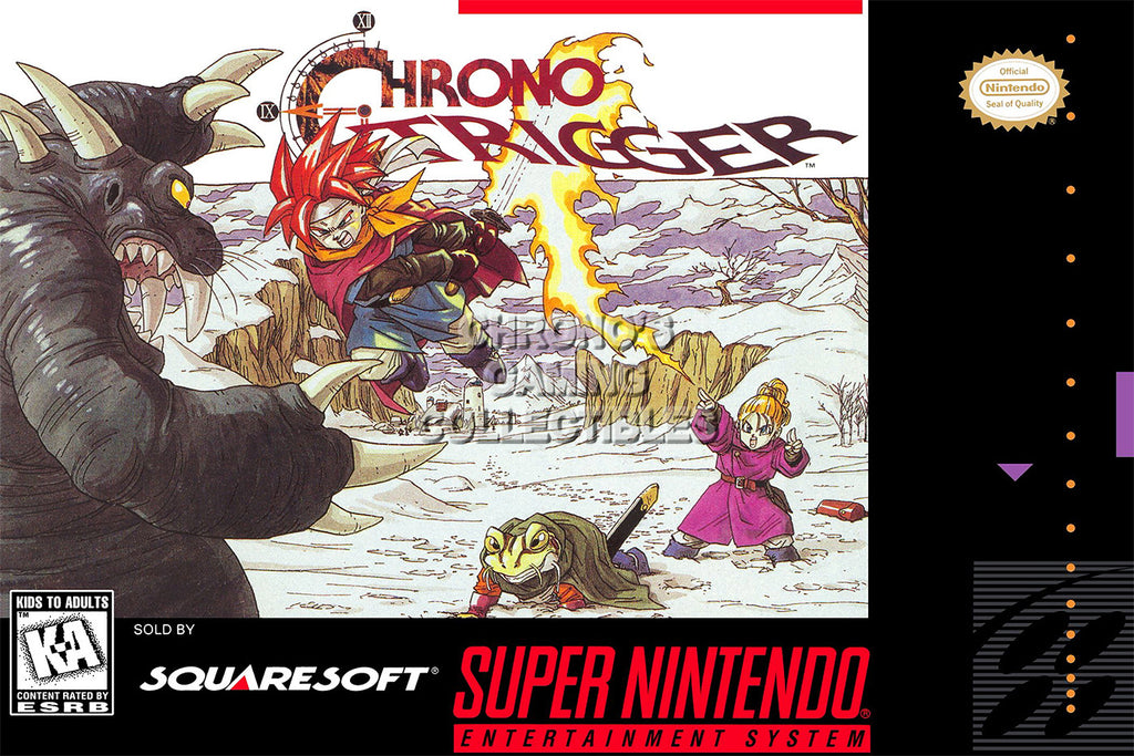 CGC Huge Poster - Chrono Trigger Original Super Nintendo SNES Box Art - CHO010