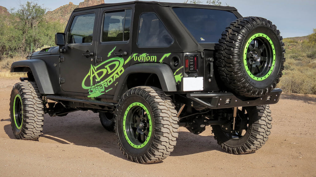 2007 - Up Jeep JK Venom Rear Bumper with Dually mounts in Hammer Black with Satin Black panels. (R952251370103) | Addictive Desert Designs
