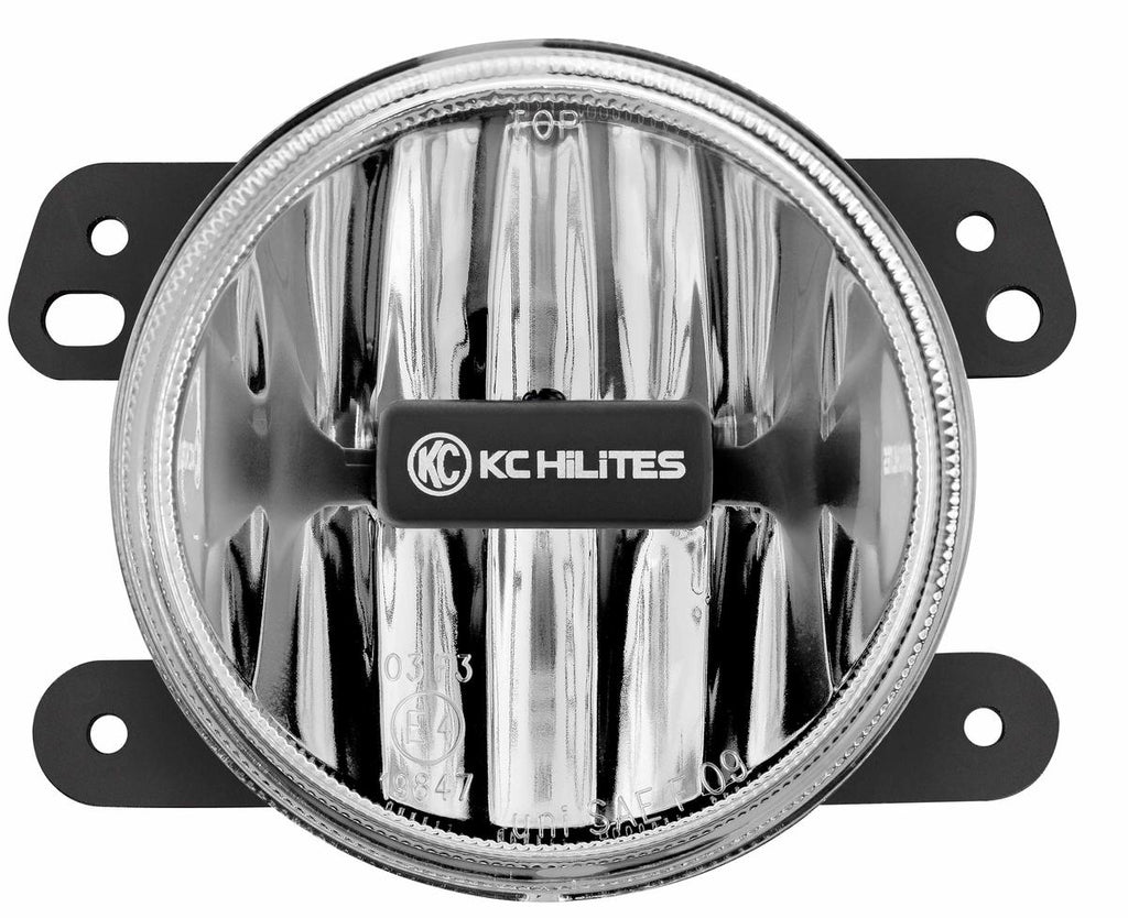 "KC HiLiTES 4"" Gravity LED Fog Light feature bright CREE LEDs in a street legal fog beam pattern. Sealed magnesium housing and shatter resistant polycarbonate lens, with universal adjustable bracket for easy OE mounting on 10-18 Jeep JKs. (1497) 