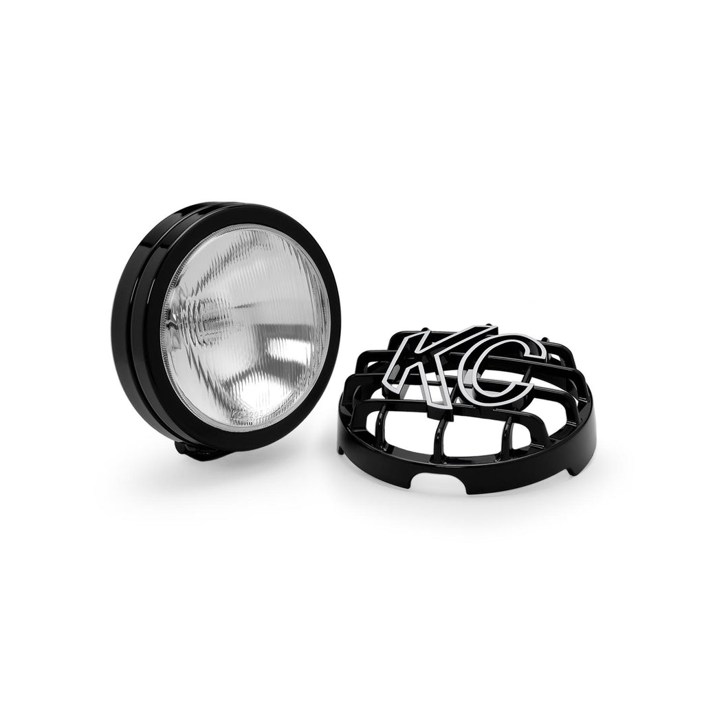 "KC's 6"" SlimLite Halogen feature 100w H3 Halogen Bulbs in spread pattern. Black powder coated housing, precision reflectors, and glass lens with adjustable mounting for accurate aiming. Complete Wiring harness and Stone Guards included. (124) 