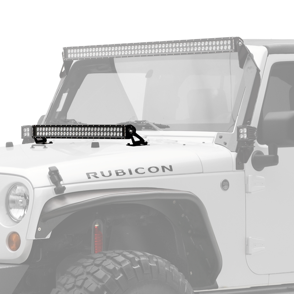 "KC's 30"" C Series C30 LED Bar & Hood Mount Bracket Lighting Kit for Jeep JK 07-18, comes with 30"" C Series LED Light Bar and Hood Mount Bracket, for 180w of power in a combo 12 Spot and Spread 30 beam patterns. Easy install. (367) 