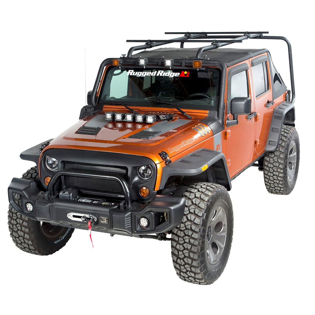 Sherpa Roof Rack Kit; 07-18 Jeep Wrangler JKU, 4 Door (11703.22) | Rugged Ridge
