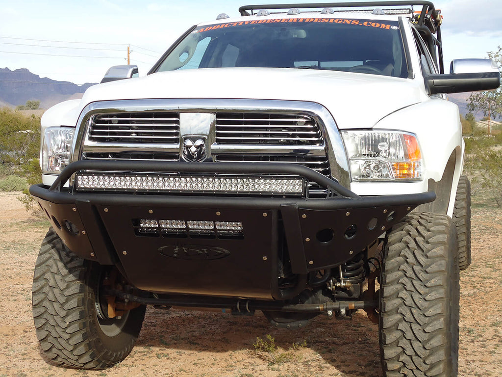 "2010 - 2017 Dodge Ram 2500/3500 front HD Standard Front Bumper with Stealth Panels with 40"" light bar mounts and 20"" light bar mount in skid and pair dually mounts on outer in Hammer Black and Satin Black panels (F513352480103) 