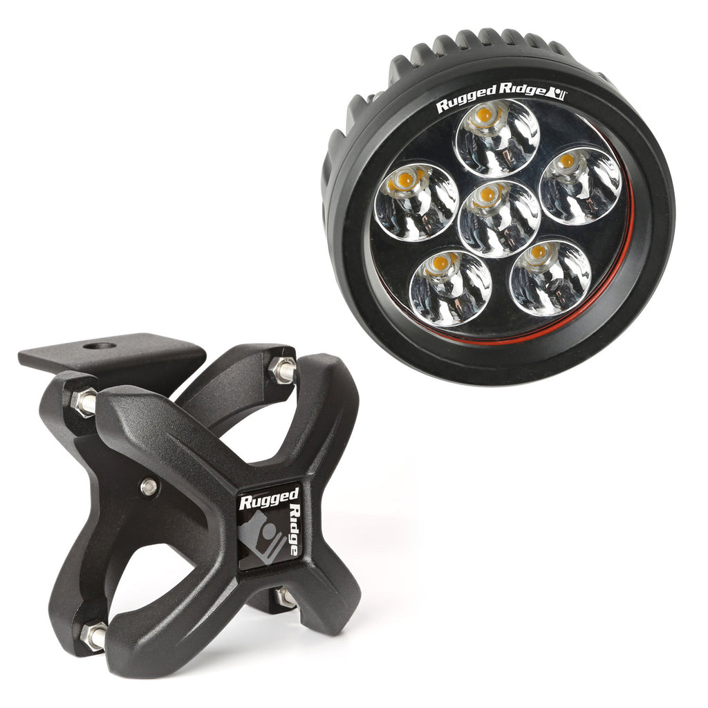Light Kit, X-Clamp/Round LED, Large, Textured Black, 1 Piece (15210.93) | Rugged Ridge