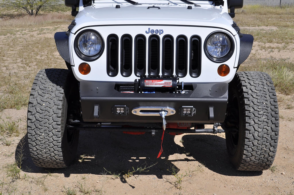 2007 - Up Jeep JK Stealth Fighter Jeep front center bumper with Winch mounts and Tow Hooks and front LED flush mount light openings With ADD Logo in Hammer Black with Satin Black panels (F951461350103) | Addictive Desert Designs