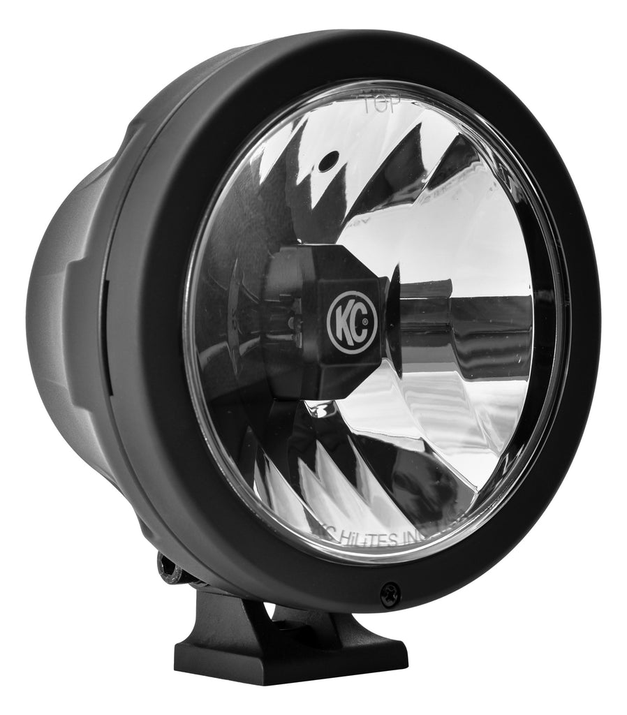 "KC Hilites 6"" Pro-Sport Gravity LED feature bright CREE LEDs in a Wide-40 beam pattern with a black Polymax housing, polycarbonate lens and adjustable mounting bracket for easy aiming. System includes wiring harness and stone guards. (645) 
