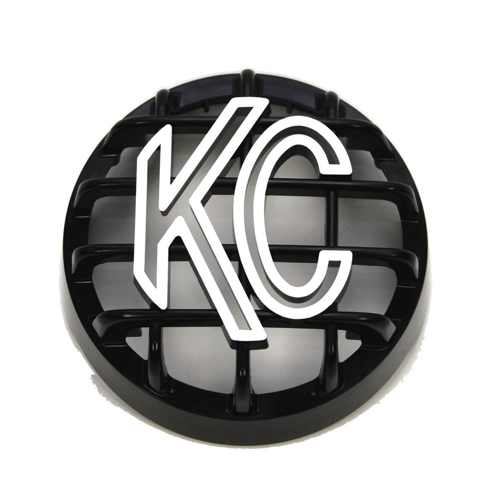 "KC's 7219 4"" Stone Guard is made with High Impact ABS plastic in black with white logo. Easy snap into place install designed to fit KC Hilites Rally 4""400 series lights for added protection from rocks and debris. (7219) 