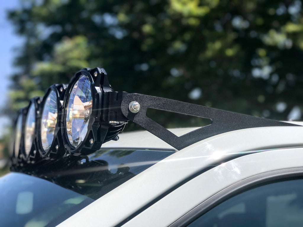 "KC's Gravity LED Pro6 9-Light 57"" LED Overhead Light Bar System for 17-19 Ford Raptors delivers over 23,000 lumens in either straight or radius orientations to deliver light where you need it most. Includes overhead mounts and hardware. (91333) 