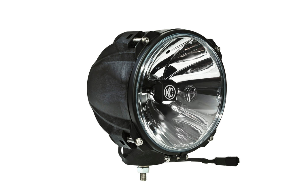 "KC HiLiTES 7"" Carbon POD with Gravity LED G7 is a flagship off-road LED featuring bright CREE LEDs in a spot beam pattern for distance and width. Uses a race tested lightweight carbon fiber housing with rally ring for precise aim. (96431) 
