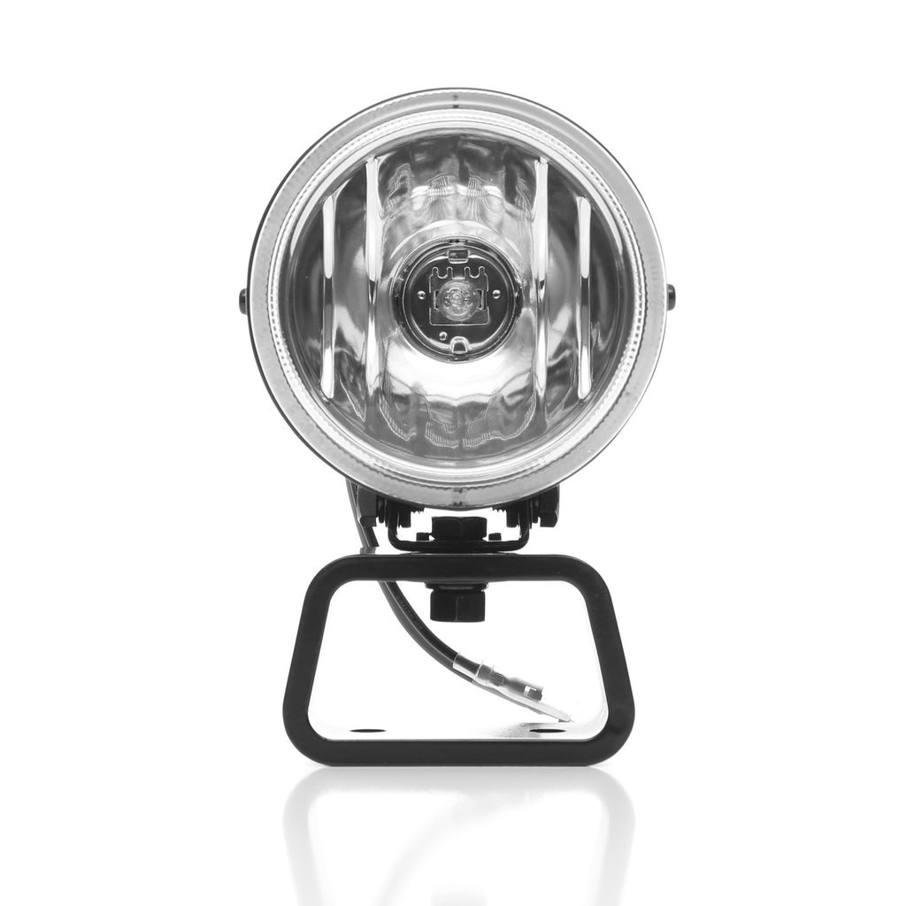 "KC's 4"" 400 Rally Halogen use 55w H3 Halogen Bulbs in a spread pattern, high quality round stainless steel, precision reflectors with a durable Lexan  lens. System includes complete wiring harness, switch kit and stone guards. (490) 