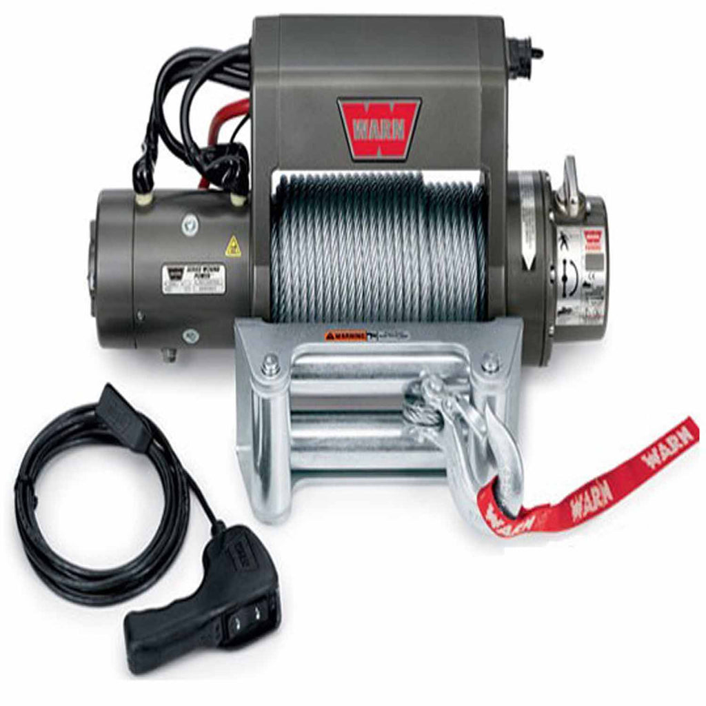12 Volt 9000 LB Cap 125 Ft Wire Rope Roller Fairlead Wired Remote (27550) | Warn