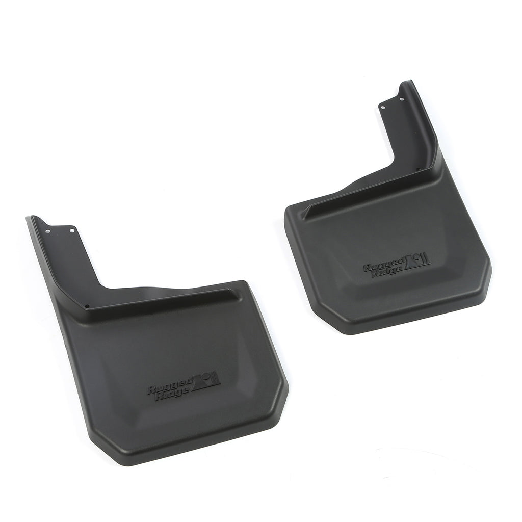 This pair of rear splash guards from Rugged Ridge fits 07-16 Jeep Wrangler. (11642.12) | Rugged Ridge