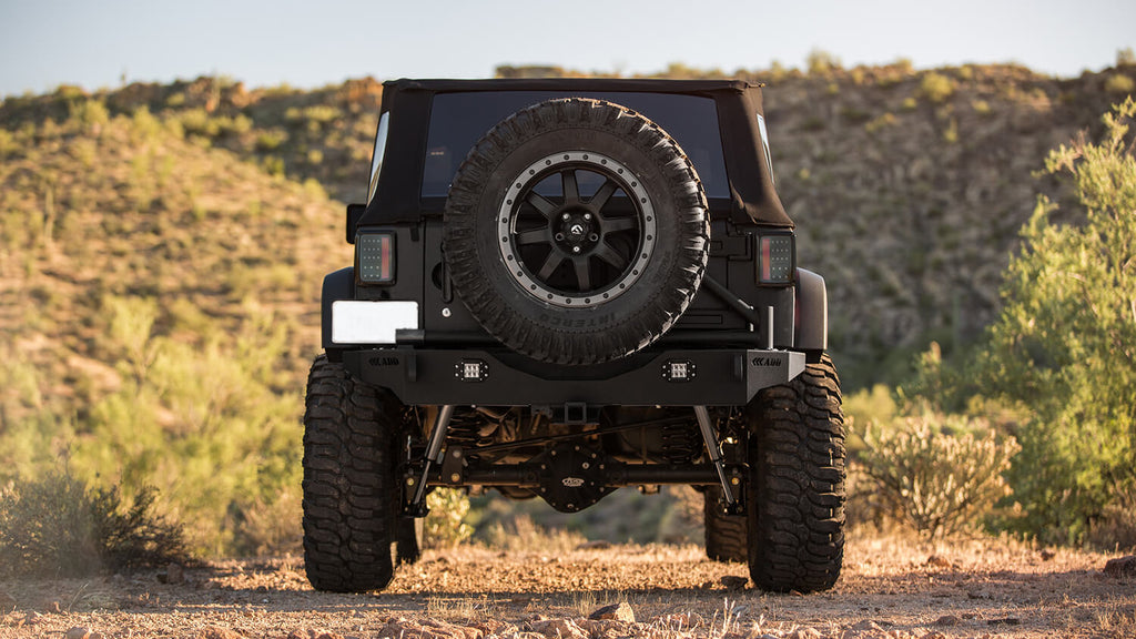 2007 - Up Jeep JK Stealth Fighter Jeep rear bumper with ADD Logos with LED Flush mount light mounts (For Stock Factory hitch mount) in Hammer Black (R9514313801NA) | Addictive Desert Designs