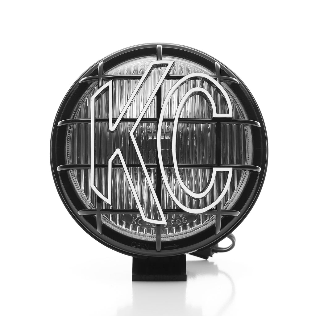 "KC's 6"" Apollo Halogen use 100W Halogen bulbs available in a fog beam pattern, slim black polymax housing and glass lens including rugged, with built in protective stone guards. System includes complete pre-terminated relay wiring harness. (152) 