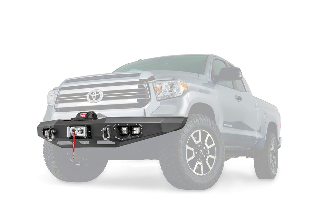 Direct-Fit; Mounting Hardware Included; Without Grill Guard; With Winch Mount; With D-Ring Mounts; With Light Cutout; Textured Black Steel (99777) | Warn
