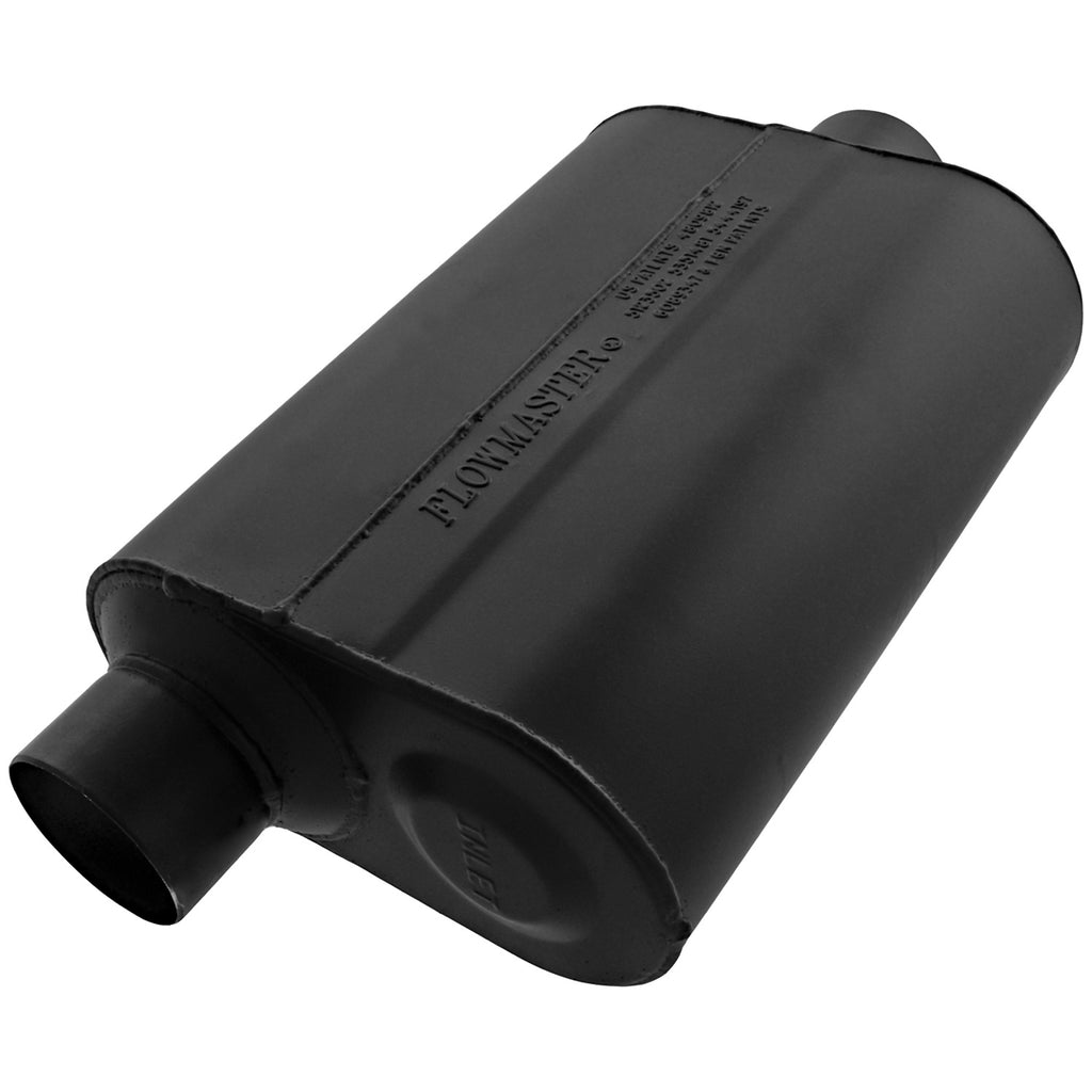 Super 40 Muffler - 2.50 Offset In / 2.50 Center Out - Aggressive Sound (952546) | Flowmaster