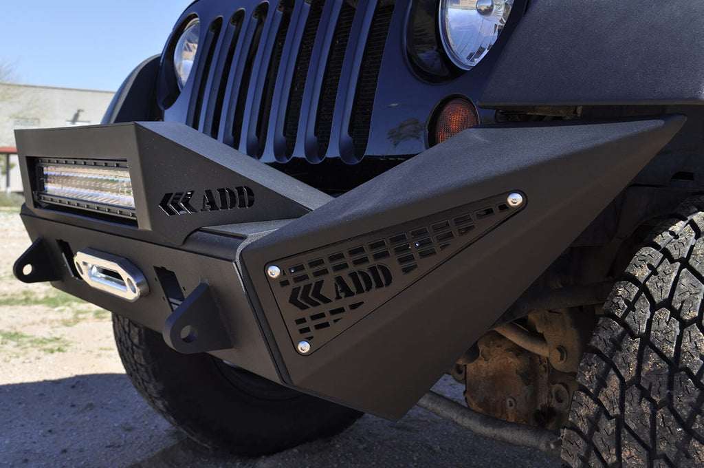 2007 - Up Jeep JK Stealth Fighter Jeep front Large side pods with aluminum panel pair with ADD logos with dually mounts in sides in Hammer Black with Satin Black panels (F951321280103) | Addictive Desert Designs