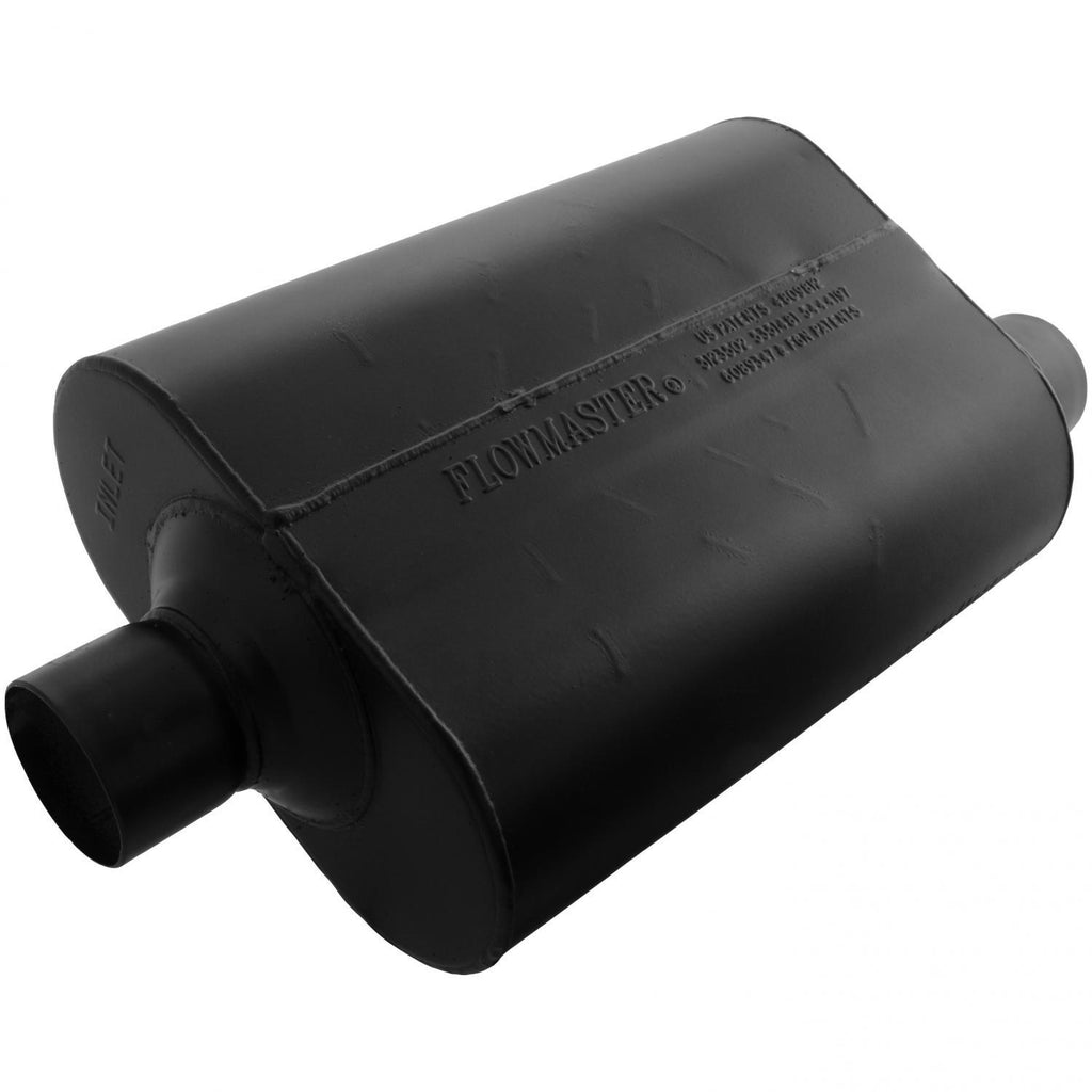 Super 40 Muffler - 2.50 Center In / 2.50 Offset Out - Aggressive Sound (952547) | Flowmaster