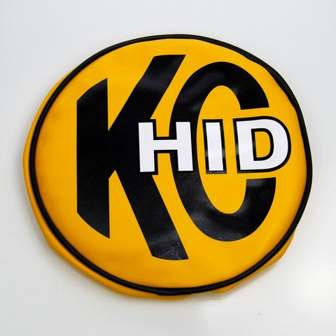 "KC Hilites 8"" Yellow Vinyl with KC HID Logo light cover fits 8"" round lights. KC light covers not only bring customized style to your vehicle but also protect and keep lights clean. Soft Vinyl covers are sold as a pair. (5819) 