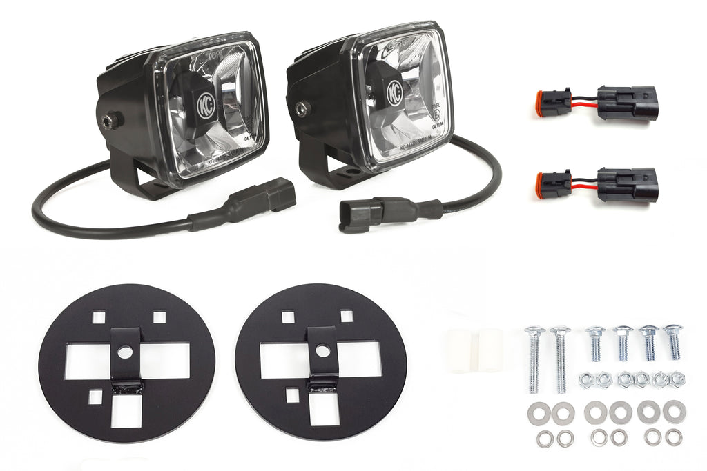 Upgrade your OE 15-16 Chevy 2500/3500 lights with KC G34 LED fog light system for street legal performance, improved visibility and safety over stock halogen lights. (345) | KC HiLiTES