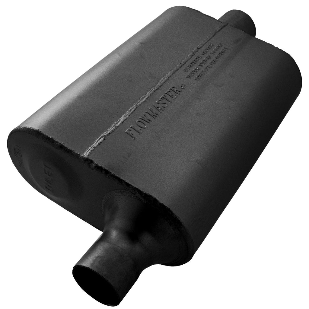 Universal 40 Delta Flow Muffler - 2.00 Offset In / 2.00 Center Out - Aggressive Sound (942041) | Flowmaster