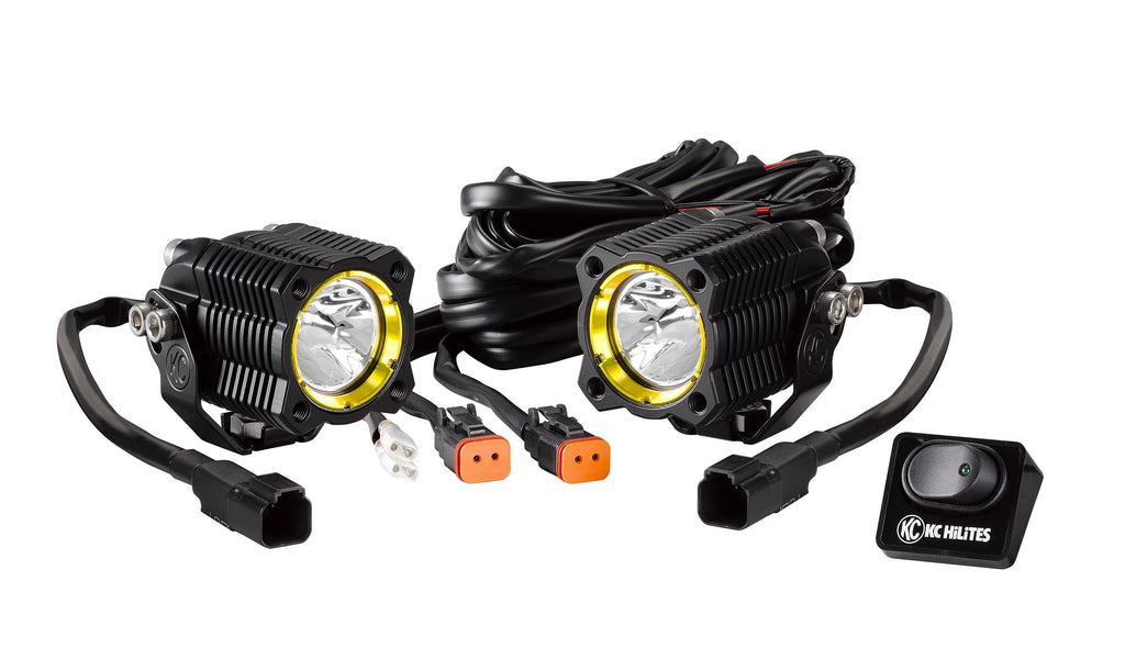 KC FLEX Single LED System features two 10w KC FLEX Single LEDs in a spread beam pattern. Compact, high-grade aluminum housings using precision tuned reflectors. Includes wiring harness and u-bracket to mount easily in tight spaces (269) | KC HiLiTES