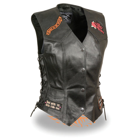 "Women's Side Lace ""Love to Ride"" Pre-Patched Vest ELL4900"