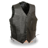Men's Side Lace Leather Vest W/ Skull & Cross Bones ELM3915
