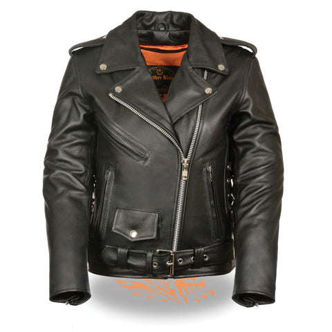 Women's Full Length Traditional Motorcycle Jacket LKL2700