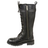 "Women's ""14"" Inch Lace To Toe High Rise Leather Boot W/ Calf Buckle MBL9355"
