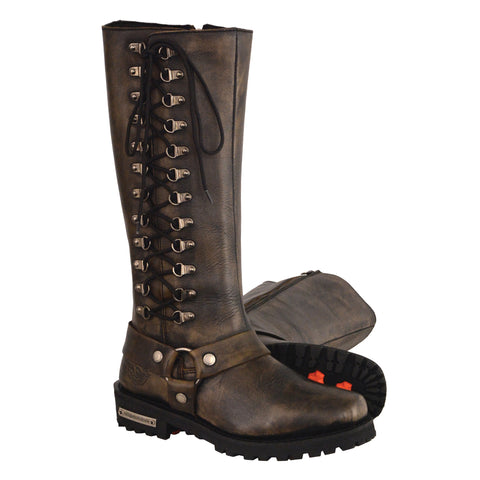 "Women's Distressed Brown ""14"" Inch Classic Harness Square Toe Leather Boot W/ Full Lacing MBL9368"