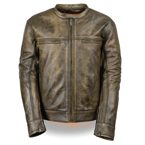 Men's Brown Distressed Scooter Jacket W/ Venting MLM1550